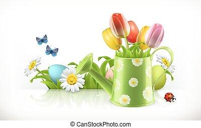 regadera, y, flores del resorte, 3d, vector, bandera