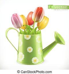 regadera, y, un, ramo, de, tulipanes, flores del resorte, 3d, vector, icono