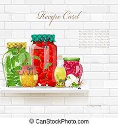 regal, sammlung, bewahrte essen, köstlich , gesunde, retro