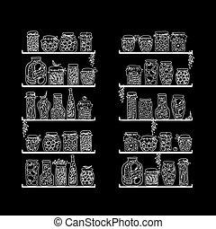 regale, mit, essiggurke, gläser, für, dein, design