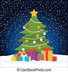 regali, albero, scena natale