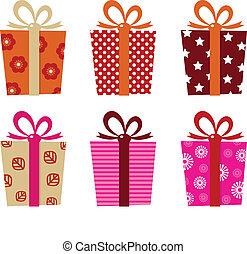 regali, bianco, set, isolato, retro