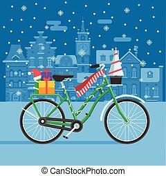 regali, bicicletta, inverno, natale