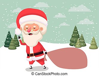 regali, borsa, claus, snowscape, santa