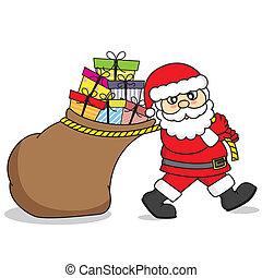 regali, borsa, claus, trascinamento, santa