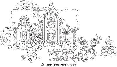 regali, caricamento, suo, sleigh, santa