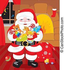 regali, claus, -, santa, giocattoli