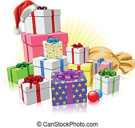 regali, concetto, natale, santa