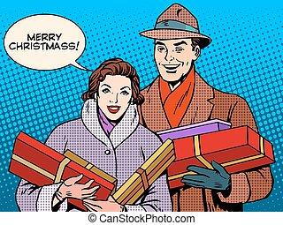 regali, coppia, natale, felice