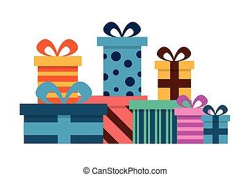 regali, decorazione, scatole, compleanno, sorpresa, celebrazione