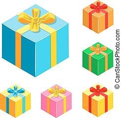 regali, differente, set, boxes.