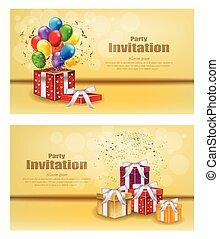 regali, e, palloni, festa, invito, scheda, vector., celebrare, eventi, bandiera, manifesti