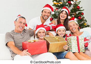 regali, felice, presa a terra, natale famiglia