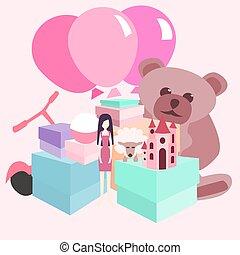 regali, mucchio, vettore, ragazze, cartone animato