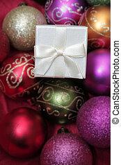 regali, natale bianco, baubles