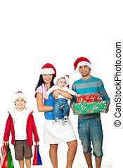 regali, natale, famiglia, felice