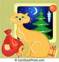 regali, natale, rosso, gatto