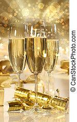 regali, nuovo,  champagne, occhiali, anni