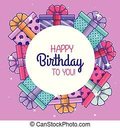 regali, presenta, decorazione, compleanno, celebrare