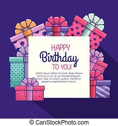 regali, presenta, decorazione, compleanno, felice