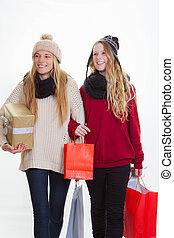 regali, ragazze, adolescente, shopping