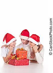 regali, santa, famiglia