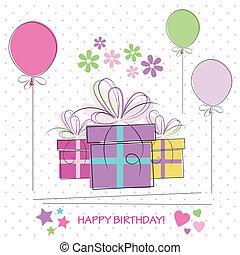 regali, scheda compleanno, felice