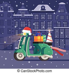 regali, scooter, consegnare, natale