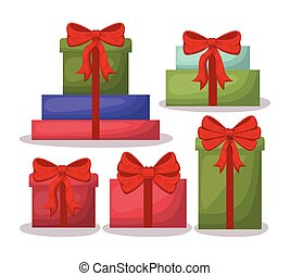 regali, set, scheda natale