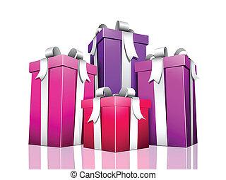 regali, vettore, isolat, illustrazione