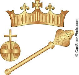 Crown Regalia - crown, scepter, orb