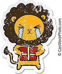 regalo, afflitto, adesivo, leone, pianto, cartone animato