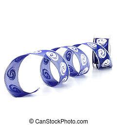 regalo, aislado, bobina, plano de fondo, cinta blanca