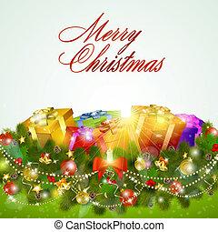 regalo, augurio, scatole, buon natale, scheda