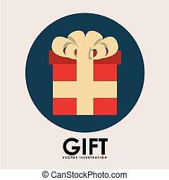 regalo, botón