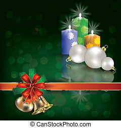 regalo, candele, augurio, verde, nastri, natale