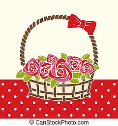 regalo, cesto, con, roses.