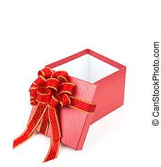 regalo, cinta, plano de fondo, glod, blanco, caja, rojo