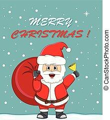 regalo, claus, natale, borsa, santa, cartone animato, scheda