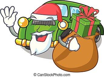 regalo, coche clásico, forma, santa, juguetes, caricatura