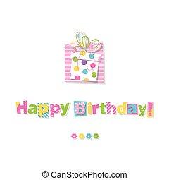 regalo, compleanno, cartolina auguri, felice