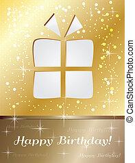 regalo compleanno, scheda, felice