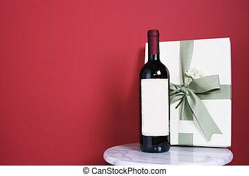 regalo, con, botella, de
