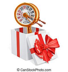 regalo, concepto, salade máquinas, latón, telégrafo, dentro,...