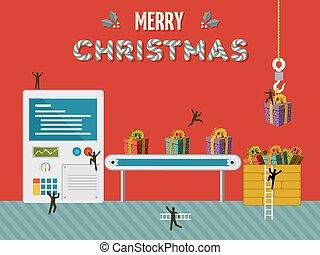 regalo de navidad, creativo, fábrica, ilustración, tarjeta