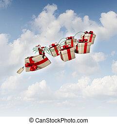 regalo de navidad, trineo
