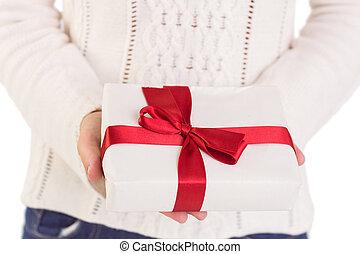 regalo, donna, scatola, offerta