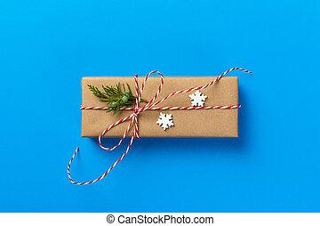 regalo, fatto mano, involucro, theme., anno, nuovo, natale