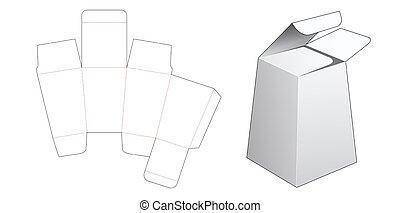 regalo, formado, corte, dado, plantilla, caja, obelisco