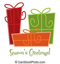 regalo, format., miedoso, vector, tarjeta de navidad